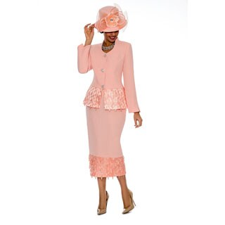 Giovanna Collection Women's Textured With Tassel Detail 2-piece Skirt Suit (Option: 16)