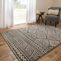 Brently Graphite/ Ivory Geometric Rug - 5'3 x 7'7