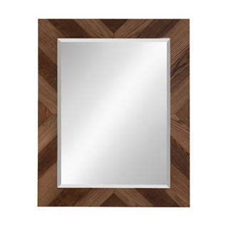 Brown Parkay Style Wood Framed Wall Accent Mirror