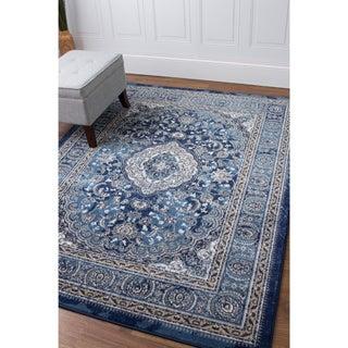Taj Medallion Ivory/Blue Machine-woven Rug (7'10 x 9'10)