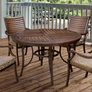 Furniture of America Mesa Contemporary Metal Brown Round Patio Dining Table