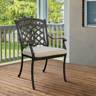Furniture of America Sofia Contemporary Antique Black Metal Cushioned Patio Arm Chair (Set of 4)