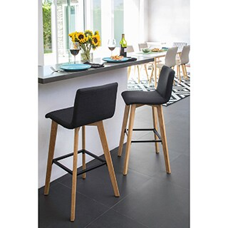 Handy Living Curved Back Midnight Black Linen 30-inch Bar Stools (Set of 2)