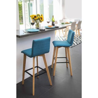 Handy Living Curved Back Caribbean Blue Linen 30-inch Bar Stools (Set of 2)