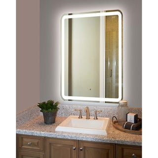 Round Edge Steel Back Frame Electric Lit Mirror with 4 Side Lights and 50,000-hour LED Bulb Life