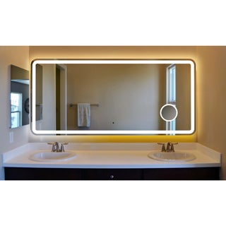 Innoci-USA Electra Rounded Arc Corner LED Wall Mount Lighted Vanity Mirror Featuring Built-In Cosmetic Mirror, IR Sensor