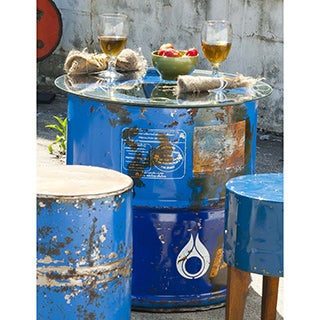 Handmade TF-0997-24-BU Cobalt Moonshine Barrel Table with Glass Top (Thailand)