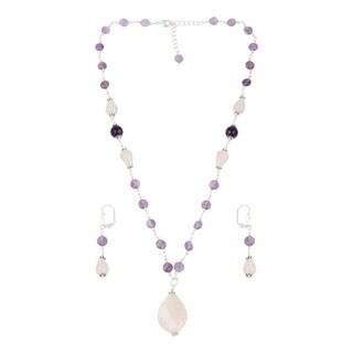 Pearlz Ocean Graceful Rose Quartz, Amethyst Beaded Necklace and Earrings Trendy Jewelry Set for Women