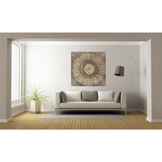 Urban Designs Circling Brown Canvas Metal Wall Art