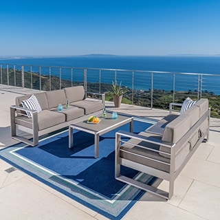 Cape Coral Outdoor Aluminum 3-piece Sofa Set with Cushions by Christopher Knight Home