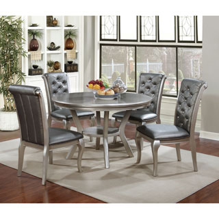 Furniture of America Mora Contemporary Champagne Round Dining Table