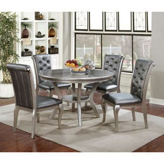 furniture of america mora contemporary champagne round dining table - Contemporary Dining Room Tables