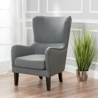 Lorenzo Fabric Hi-Back Studded Chair by Christopher Knight Home