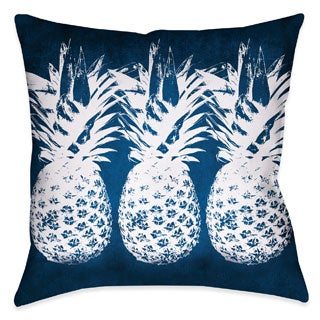 Blue and White Pineapple Throw Pillow
