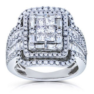 Annello by Kobelli 14k White Gold 2ct TDW Diamond Princess Cut Halo Engagement Ring