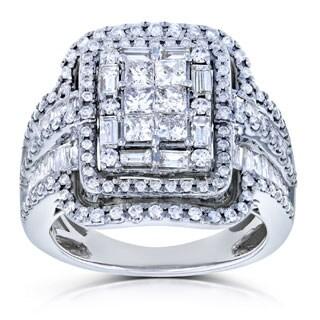 Annello by Kobelli 14k White Gold 2ct TDW Diamond Princess Cut Halo Engagement Ring
