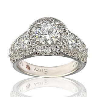 Suzy Levian Bridal Sterling Silver White Cubic Zirconia Engagement Ring|https://ak1.ostkcdn.com/images/products/P19743772ph.jpg?impolicy=medium