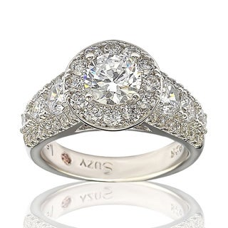 Suzy Levian Bridal Sterling Silver White Cubic Zirconia Engagement Ring (More options available)