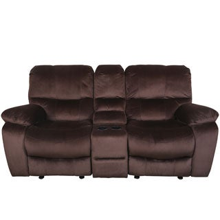 Porter Ramsey Cocoa Brown Plush Microfiber Power Recliner Loveseat with Center Console