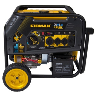 Firman Power Equipment H08051 Dual Fuel 10,000/8,000 Watt (Hybrid Series) Extended Run Time Generator with Electric Start