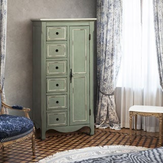 Furniture of America Stewart Vintage Style Distressed Light Teal Multi-Storage Floor Cabinet