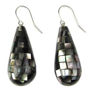 White/Black Sterling Silver Mother of Pearl Earrings