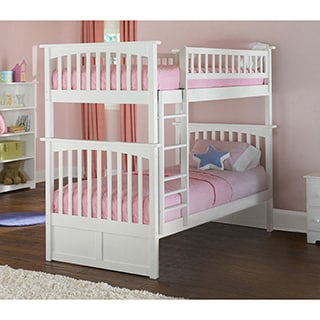 Columbia Twin over Twin Bunk Bed with Flat Panel Bed Drawers in White