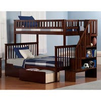Woodland Staircase Bunk Bed Twin over Full with 2 Urban Bed Drawers in Walnut