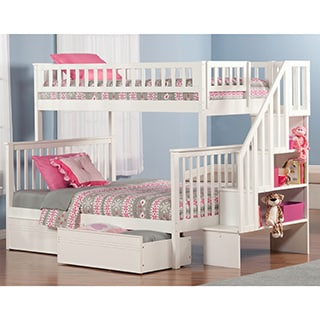 Woodland Staircase Bunk Bed Twin over Full with Flat Panel Bed Drawers in White