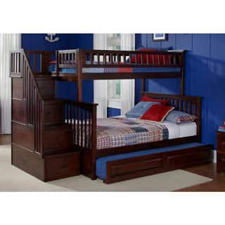 Columbia Staircase Bunk Bed Twin Over Full With Raised Panel Trundle In Walnut