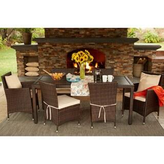 Handy Living Aldrich Brown Indoor/Outdoor 7 Piece Rectangle Dining Set with Beige Cushions