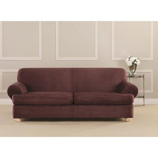 Sure Fit Ultimate Stretch Suede 2-Cushion Sofa T-Cushion Slipcover