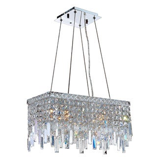 "Glam Art Deco Style Collection 4 Light Chrome Finish Crystal Rectangle Flush Mount Chandelier 20"" L x 10"" W x 10.5"" H Medium"