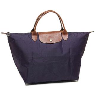 Longchamp Le Pliage Medium Bilberry Canvas Foldable Shoulder Tote Bag
