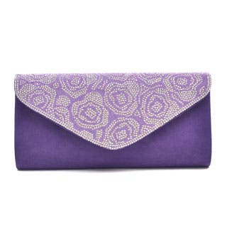 Dasein Glitter Mini Rhinestones Evening Clutch in a Floral Pattern with Removable Chain Shoulder Strap|https://ak1.ostkcdn.com/images/products/P19818755a.jpg?impolicy=medium