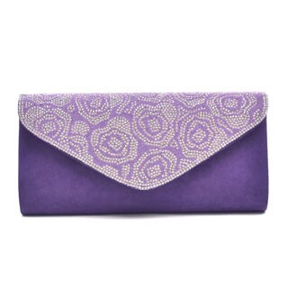 Dasein Glitter Mini Rhinestones Evening Clutch in a Floral Pattern with Removable Chain Shoulder Strap