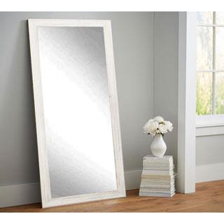 Multi Size BrandtWorks Distressed Coastal White Wood Floor Mirror - White/Grey