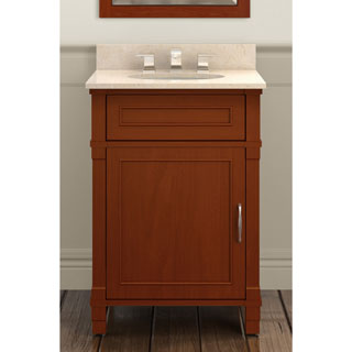 Alaterre Williamsburg Chestnut Wood 24-inch Bath Vanity Set with 25-inch Wide Marble Sink Top
