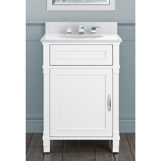 Alaterre Williamsburg 25-inch Marble Sink Top with Wood Bath Vanity Set (2 options available)
