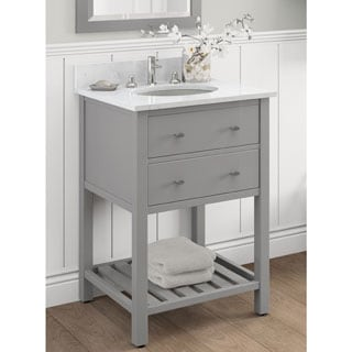 Elegant Alaterre Harrison Carrera Marble Sink Top With Grey 24 Inch Bath Vanity