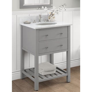 Alaterre Harrison Carrera Marble Sink Top with Grey 24-inch Bath Vanity