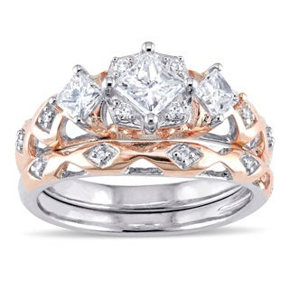 Laura Ashley 10k 2-tone Rose and White Gold 1ct TDW Princess and Round-cut Patterned Bridal Ring Set