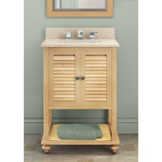 Alaterre Tahiti 25-inch Marble Sink Top with 24-inch Natural Single Sink Bath Vanity Set