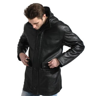 Men's Black Glove Leather Car Coat