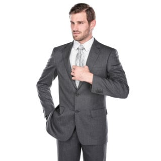 Verno Men's Dark Grey 100% Virgin Wool Classic-fit Suit