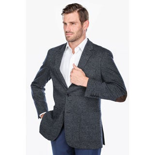 Verno Men's Navy and Grey Glen Check Wool Blend Classic Fit Blazer