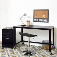 Industrial Modern 48-inch Wide Black Steel Mobile Desk Rolling Cart 21113