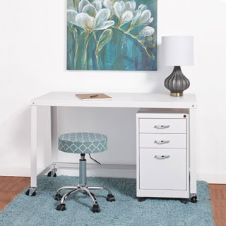 Industrial Modern White 48-inch Mobile Desk Rolling Cart