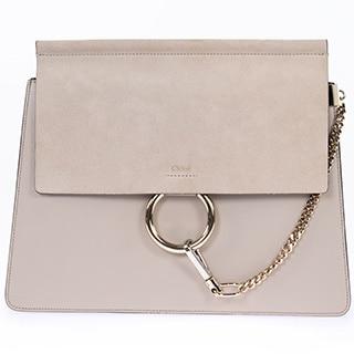 Chloe Faye Medium Motty Grey Smooth/Suede Calfskin with Light Gold Hardware Handbag