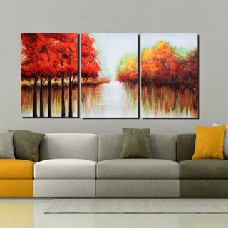 'Red Forest' 3-panel Gallery-wrapped Canvas Art